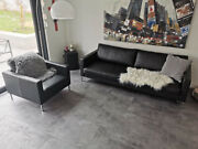 Black Designer Leather Sofa And Matching Armchair