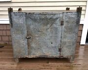 1840-50 Pennsylvania Punched Tin Hanging Pie Safe Wide Boards Orig. Chain