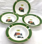 """John Deere Dishes 1935 Model B Tractor Soup Salad By Gibson Set 4 Bowls 9"""" Used"""