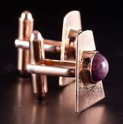 Unique Vintage 1950and039s 14k Rose Gold Oval Cabochon Star Ruby Cufflinks 6.0ctw
