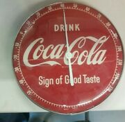 Vintage 50's Drink Coke Sign Of Good Taste Coca-cola Pam Glass Thermometer Nice