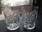 2 Tumblers Pairpoint Viscaria Flower Abp American Brilliant Cut Glass Crystal