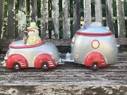 Paris And Beebee Snowman, Car And Airstream Trailer Cookie Jar Set, Go'in South
