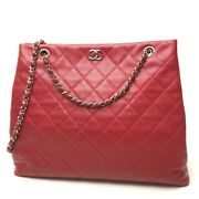 Matelasse Chain Shoulder Bag Red/silverhw Caviar Leather