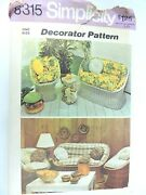 Simplicity 6315 Sewing Pattern 1974 Wicker Furniture Cushions Pillow Vintage