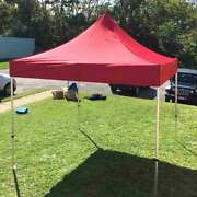 Commercial 10x10' Pop Up Canopy Tent Red 5 Adjustable Height Outdoor Gazebo