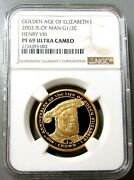 2003 Gold Isle Of Man 500 Minted 1/2 Oz Golden Age Henry Viii Ngc Proof 69 Uc