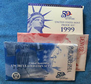 1999 Proof And Uncirculated Annual Us Mint Coin Sets Pds Two Sets 30 Coins Total
