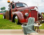 3d Antique Red T448 Transport Wallpaper Mural Self-adhesive Removable Sunday