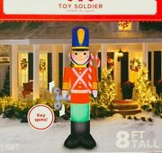Rare New 8 Feet Tall Christmas Toy Soldier Spinning Wind Up Key Inflatable Gemmy