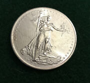 One Troy Ounce 0.999 Pure Silver Round Standing Liberty.