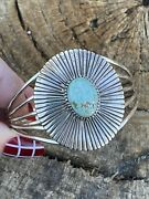 Navajo Handmade Sterling Silver And Number 8 Turquoise Signed Lined Cuff Signed