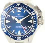 Hamilton Khaki Navy Frogman H77705145 Automatic Date Ss Blue With Box And Papers