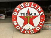 Original Vintage 42 Texaco Gasoline Motor Oil Sign Porcelain Garage Mancave Old