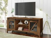70 Tv Stand Industrial Tv Console Table Farmhouse Sliding Barn Door Brown