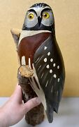Contemporary Hawk Owl Decoy Carving By George Bell Signed Glass Eyes 2008