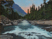 Robert West Morning On The Salmon River Landscape Oil Painting Idaho18x24