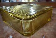Vintage Federal Amber Glass Ribbed Refrigerator Dish 8-1/2 Square With Lid Wow