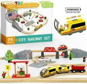 Wooden Toy Train City Railway Set Tracks Battery Locomotive Station Compatible