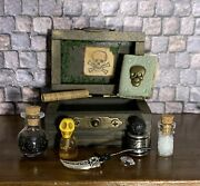 Witch's Chest Minature Dolls House Size W Potions, Athame, Scroll, Skulls, Book