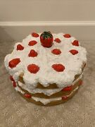 Vintage Strawberry Shortcake Ceramic Pedestal Footed Cake Plate Dome Cover - 11