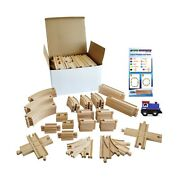 Tiny Conductors 67 Piece Wooden Train Track Set With Train Car, 100 Real Woo...