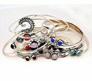 Turquoise And Mixed Gemstone 1000pcs Cuff Bracelet Wholesale Lot 925 Silver Plated