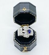 Magnificent Antique Retro Diamond And Sapphire Buckle Ring 14k White Gold Size 4