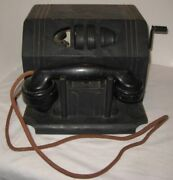 Old Rare Art Deco Crank Magneto Powered Telephone In Black Wooden Cabinet Bbb