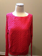 New Landsand039 End Coral Salmon Pink Cable Boatneck Dolman Sleeve Sweater Small