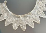 Antique French White Work Embroidered Sawtooth Collar
