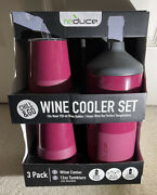 New Reduce Wine Cooler Set, Purple - 2 Tumblers And Chiller 3 Pack Fits Most 750ml