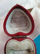 Antique Georgian Victorian Red Leather Heart Jewelry Ring Box