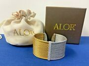 Alor Yellow And Grey Large Color Block Cuff 18k White Gold With Diamonds In Box