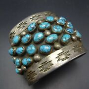 Magnificent Heavy Vintage Navajo Sterling Silver Turquoise Cluster Cuff Bracelet