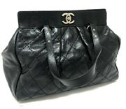 Cc Quilting Tote Bag Shoulder Bag Black Leather W/serial Authentic