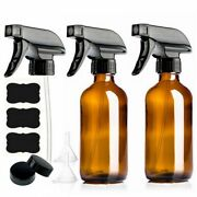 Empty Amber Glass Spray Bottle With Trigger Sprayer And Chalkboard 2 Pack 250ml