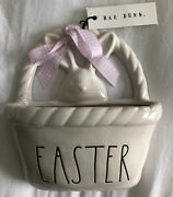"""Rae Dunn """"easter """" Small Hanging Ceramic Basket With Bunny Face By Magenta New"""