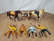 Vintage 1950's Western Hartland Cowboys, Indians And Horse Toy Lot