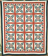 Outstanding Vintage 1870and039s Laurel Leaves Red And Green Applique Antique Quilt