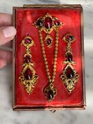 Early Victorian Boxed Set Of 15k Garnet Day To Night Earrings And Stomacher