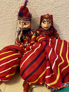 """2 Marionettes Matching Male And Female Bright And Colorful 28"""" Tall"""