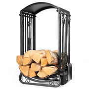 5-pieces Fireplace Firewood Log Rack Storage With Broom Shovel Tongs