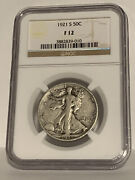 One 1921 S. Silver Standing Liberty Half Dollar Ngc F12