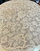 Antique 18th Century Hand Made Filet Lace Tablecloth Ww207