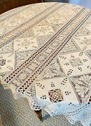 Antique 18th -19th C. Linen Tablecloth W/varied Ornate Lace Decoration Ww208