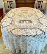 Extraordinary Early 19th Cent. Huge Linen Lace Banquet Tablecloth/ Putti Ww209