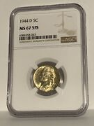 1944-d Jefferson Nickel Ngc Ms 67 5fs