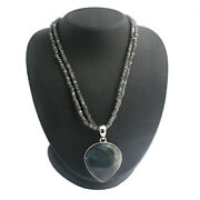 Hsn Radorite Sterling Silver Pear-shaped Pendant And 17 Bead Necklace