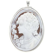 Hsn Scognamiglio 14k White Gold Over Lady Flowers Cameo Pin/pendant